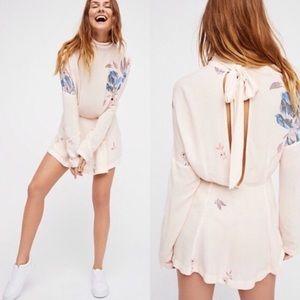 Free People Cream Floral Gemma Mini Dress Tunic